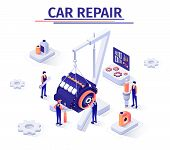 Advertising Isometric Banner Template With Engine Repair Process In Car Service. Masters Work With A poster