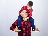 Here I Am. Real Joy. Fathers Day. Happy Family. Father And Son In Red Checkered Shirt. Childhood. Pa poster
