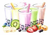 Refreshing Fruit Milky Bubble Boba Tea With Tapioca Pearls. Watercolor Hand Drawn Illustration, Isol poster