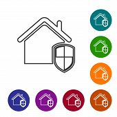 Grey House Under Protection Line Icon Isolated On White Background. Home And Shield. Protection, Saf poster