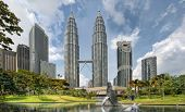picture of klcc  - Kuala Lumpur Malaysia City Skyline from KLCC Park by the Lake - JPG