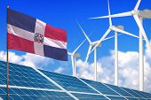 Dominican Republic Solar And Wind Energy, Renewable Energy Concept With Windmills - Renewable Energy poster