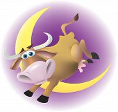 stock photo of nursery rhyme  - The cow jumping over the moon with a purple night background - JPG