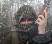 picture of terrorist  - Soldier fighting for freedom in the rainforest - JPG
