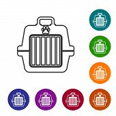 Grey Pet Carry Case Line Icon Isolated On White Background. Carrier For Animals, Dog And Cat. Contai poster