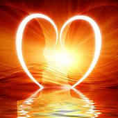 picture of soulmate  - Heart reflected in waves on an orange background - JPG