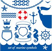 picture of nouns  - Set of marine elements  - JPG