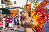 Sesimbra, Portugal - February 20: Samba Dancer In The Sesimbra Carnival - Equal To The Brazilian Car