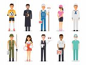 Set Of Diverse Occupation Profession People. Flat Design People Characters. poster