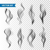 Realistic Cigarette Smoke Set Isolated On Transparent Background. Vector Vapor In Air, Steam Flow. F poster
