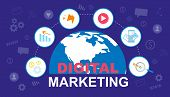 Digital Marketing Banner. Global Market. Social Media Advertisement Vector Illustration. Advertising poster