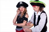 image of pirate girl  - two pirate man and a woman holding a map in his hands - JPG
