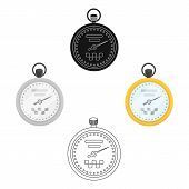 Yellow Stopwatch With Taxi Emblem. Equipment Measure The Time Of Filing A Taxi. Taxi Station Single  poster