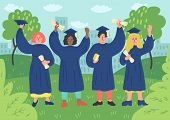 Happy Graduated Students With Diploma In Graduation Gown Oudoors. Vector Illustration. poster