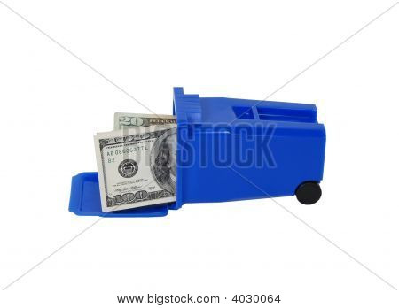 Money And Recycling Bin