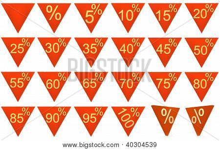Set Of 3D Rendered Objects Red Symbols Of Triangle With Gold Sign On A White Background