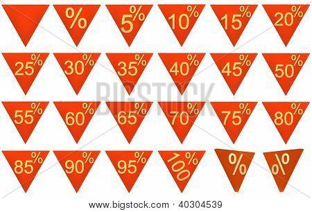 Conjunto de objetos representados 3D rojo símbolos del triángulo con signo de oro sobre un fondo blanco
