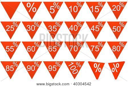 Set Of 3D Rendered Objects Red Symbols Of Triangle With White Sign On A White Background