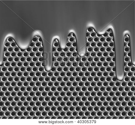 Seamless metallic liquid on grille texture - raster version