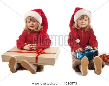 Two Girls With Present Boxes
