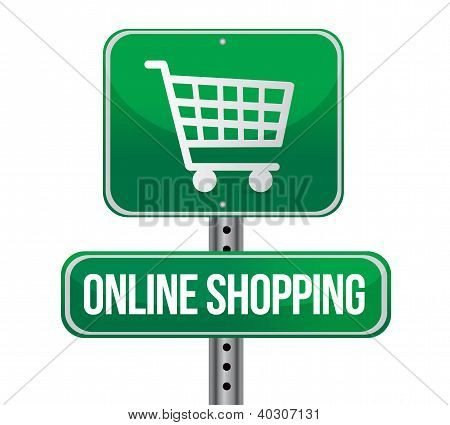 Road Traffic Sign With An Online Shopping