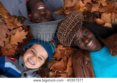 Multiracial Portrait Of 3 Kids