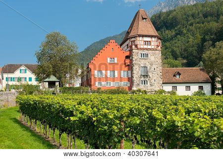 Red House In The Old District Of Vaduz