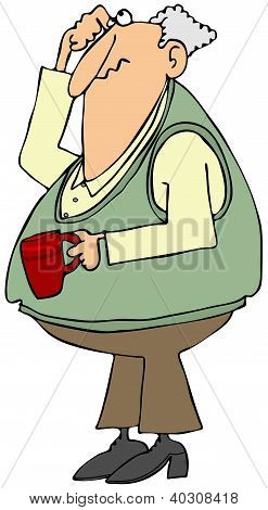 Puzzled old man with a coffee cup