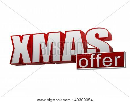 Xmas Offer Red White Banner - Letters And Block