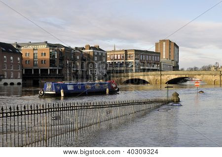 View of flooded River Ouse in City of York.