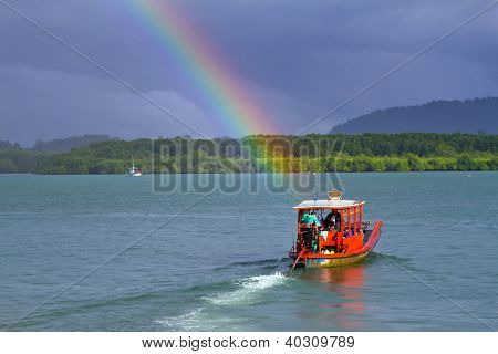 Rainbow and boat on the river at Koh Kho Khao in Thailand