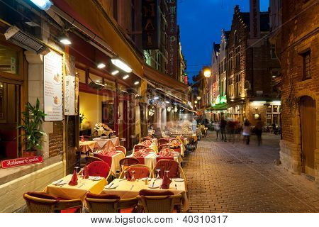 Small Cafes On The Old Streets In Brussels