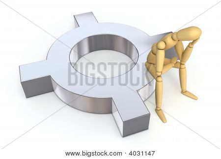 Lay Figure Sitting On Currency Symbol