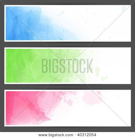 Vector Illustration of set of three watercolor banners. Eps10.