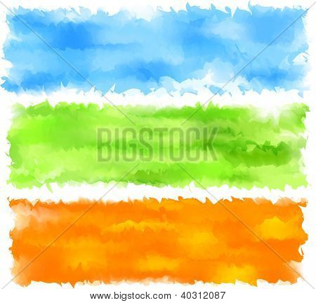 Vector Illustration of set of three watercolor banners. Spring headers. Eps10.
