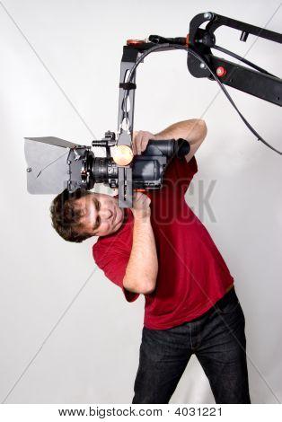 Cameraman Work With Crane