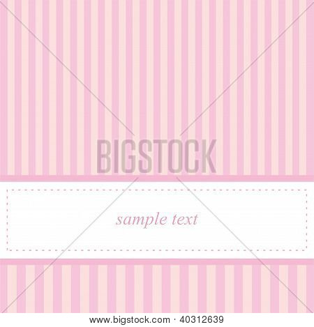 Card invitation vector template for baby shower, wedding or birthday party with sweet pink stripes