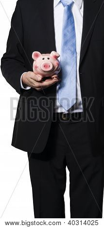 Manager Holding A Piggy Bank