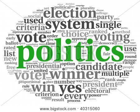 Politics and election concept in word tag cloud on white background
