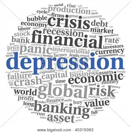 Depression and crisis concept in tag cloud on white background