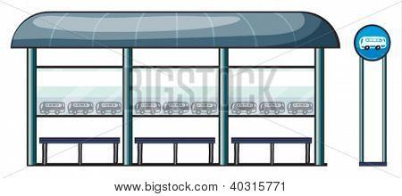 Ilustración de una parada de autobús sobre un fondo blanco
