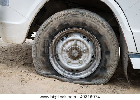 Deflated Damaged Tyre