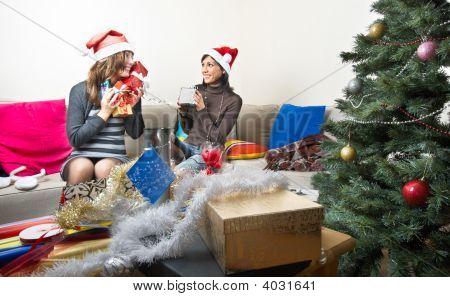 Friends Preparing Christmas Presents