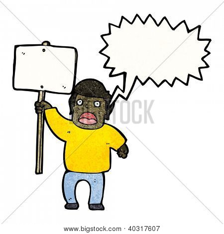 cartoon protestor with sign