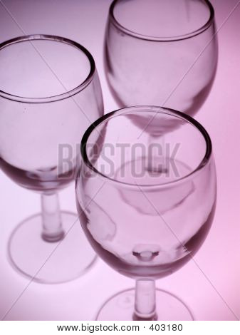 Wine Glasses In Pink Light