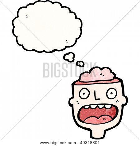 cartoon man with gross exposed brain