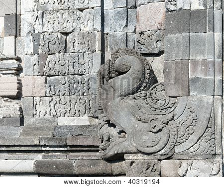 Richly Decorated Walls Incandi Sewu Buddhist Complex, Java, Indonesia