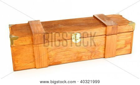 Wooden case for wine isolated on white