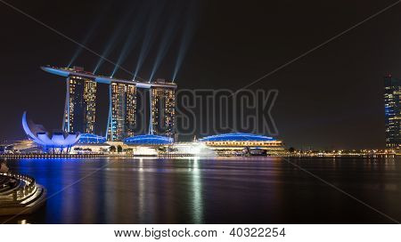 Marina Bay Sands Laser Show At Night, Singapore
