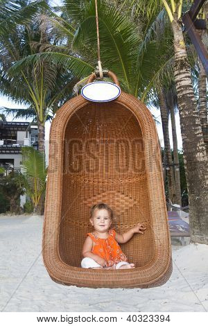 baby child on tropical beach background